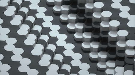 Abstract image of a background of hexagons of different levels 3D image