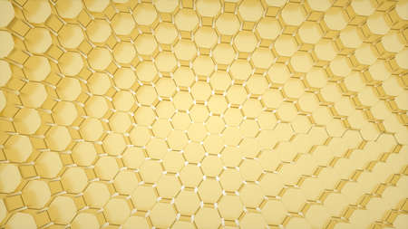 Abstract image of a pattern of Golden hexagons with a tightening effect 3D image