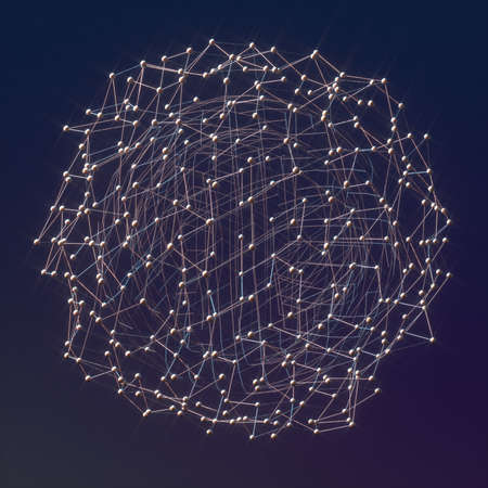 Abstract image of a metal meshes ball 3D image