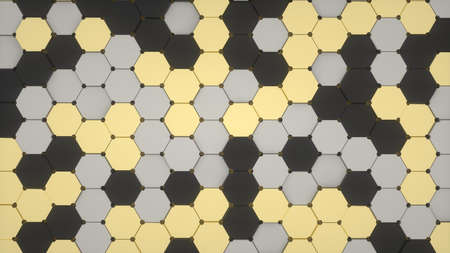 Abstract image of a pattern of black gold and gray hexagons 3D image