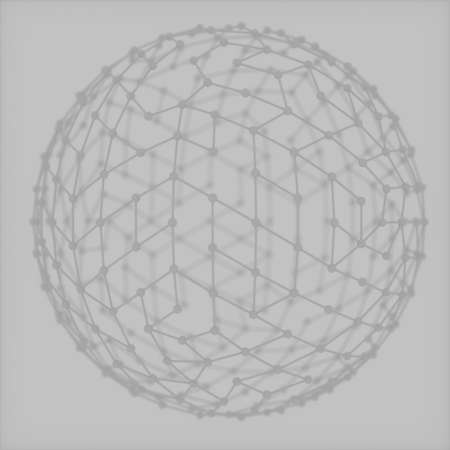 Abstract image of a sphere made of grey cobweb 3D image Stock Photo
