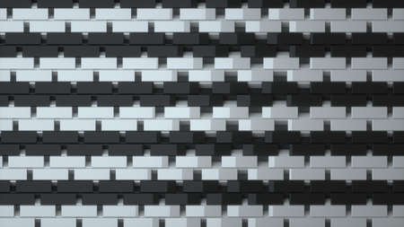 Abstract image of a rhythmic pattern of white and black rectangles of different levels 3D image