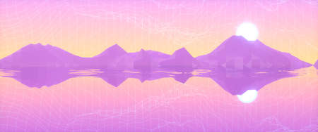 Abstract image of the reflection of mountains and the sun in the sea 3D image