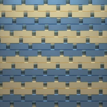 Abstract image of a rhythmic pattern of blue and gold rectangles 3D image Stock Photo