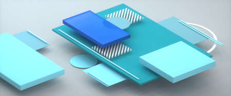 Abstract image of a desktop in an office diagonal 3D image