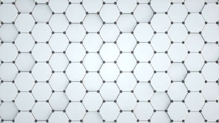 Abstract image of a pattern of white hexagons and black meshes 3D image