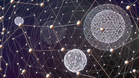 Abstract image of spheres and metal web 3D image 版權商用圖片