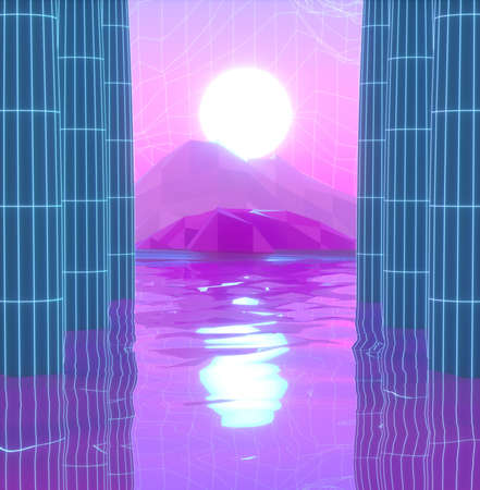 Abstract image of a sea and mountain view through columns 3D image