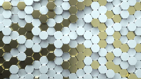 Abstract image of a chaotic pattern of gray and gold hexagons 3D image