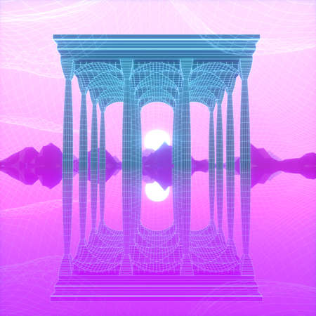 Abstract image of an architectural structure in the form of a portico 3D image