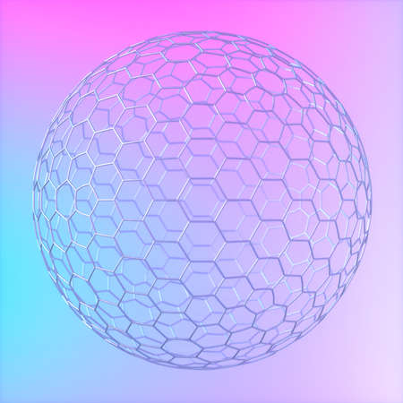 Abstract image of a wire ball on a blue and pink background 3D image