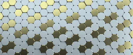 Abstract image of a pattern of hexagons arranged diagonally 3D image