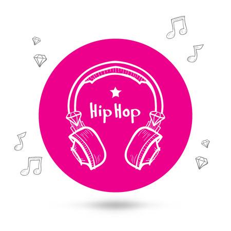 Headphones doodle, headphones icon, hip-hop, silhouette of headphones Vector
