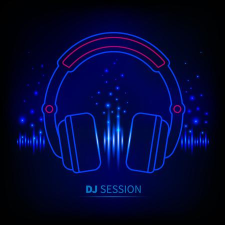 Light neon Headphones, light equalizer, dj session