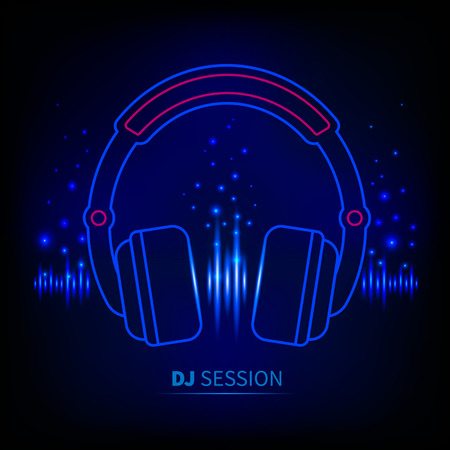 Light neon Headphones, light equalizer, dj session Vector