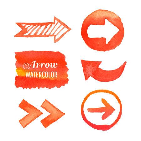orange arrow: set watercolor arrows hand-painted design elements  Illustration