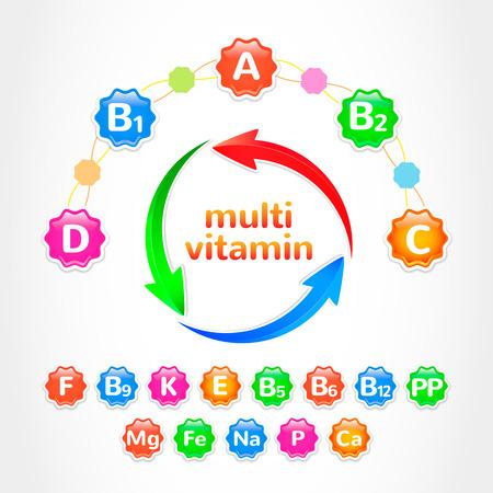multivitamin: Set vitamins Illustration