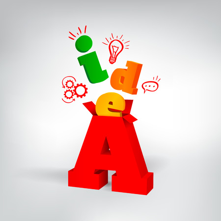 color 3d letters with doodle icons Ilustracja