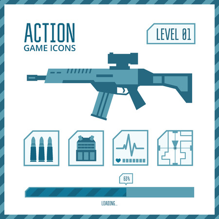 Set of vector icons for a game in the genre of shooter or action. Illustration