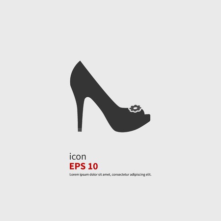 high detail: Icon Womens shoes, vector illustration. Black silhouette.