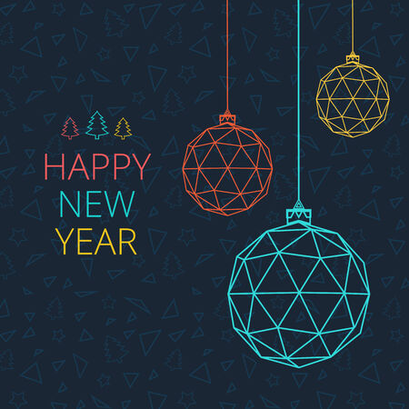 Christmas card with Christmas balls of triangles Ilustracja