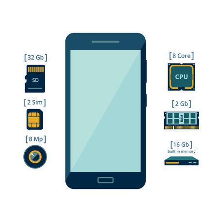 component parts: Icons of the smartphone and its component parts Stock Photo