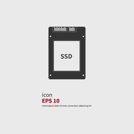 SSD drive icon, vector illustration. Black silhouette. Vector