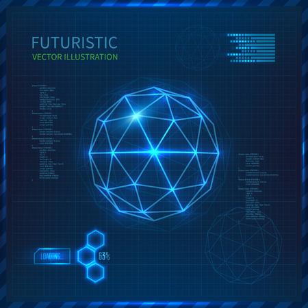 三角形の付いたベクトル球で未来的なインターフェース。未来派の技術の背景。