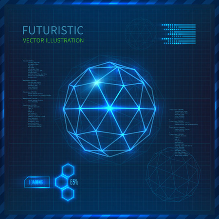 Futuristic interface with vector sphere with triangles. Futuristic technology background. Illustration
