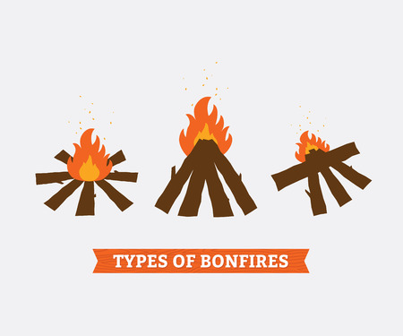 Drie types van kampvuren voor kamperen. Vuur en brandhout. Vector illustratie