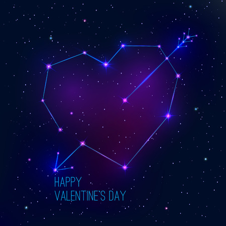 astro: Valentines day abstract background with a heart as a constellation. Vector illustration