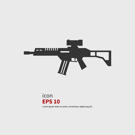 sniper rifle: Vector icons rifle assault. Black silhouette.