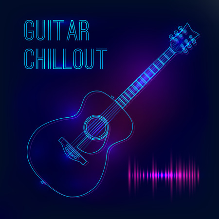 chillout: Abstract background with glowing acoustic guitar. Poster for a concert or nightclub.