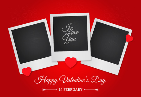 Postcard Happy Valentines Day with a blank template for photo. Photo frame on a red background. Ilustração
