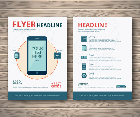 Template design zakelijke flyer of brochure. Smartphone met een beschrijving van de technische kenmerken.