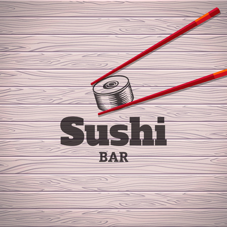 Vector poster with sushi rolls and chopsticks on a wood background Vector