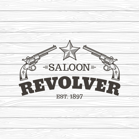 old west: Vector engraving western revolvers. Vintage style.