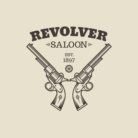 western usa: Vector engraving western revolvers. Vintage style.