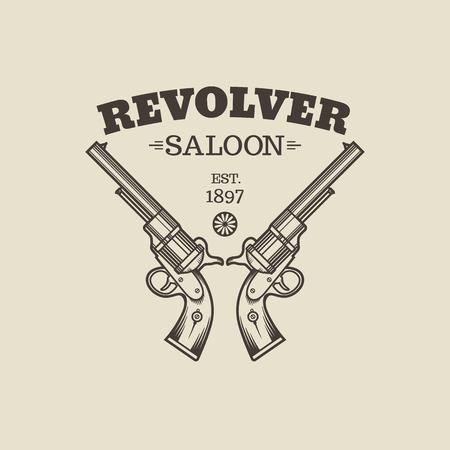 barrel pistol: Vector engraving western revolvers. Vintage style.