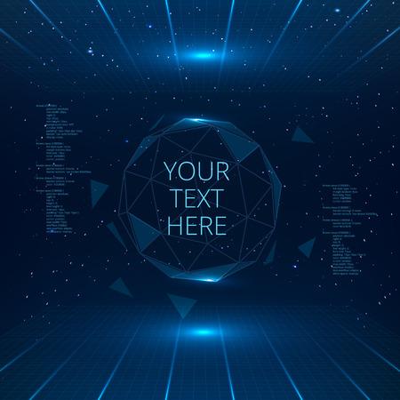 삼각형 벡터 구 미래의 인터페이스를 제공합니다. 미래의 기술 배경입니다.