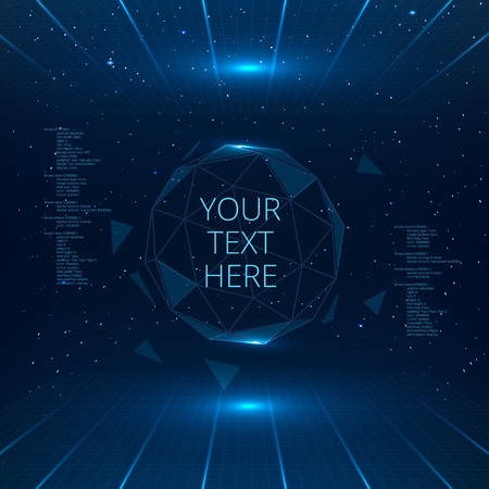 Futuristic interface with vector sphere with triangles. Futuristic technology background. Ilustração