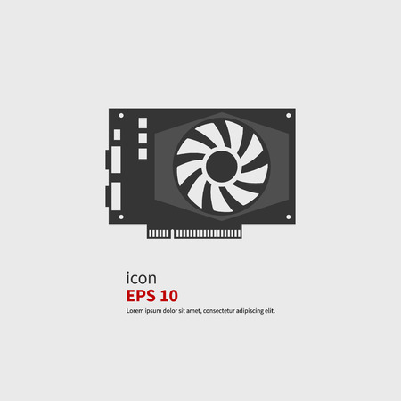 Vector icon GPU or video card. Black silhouette isolated Illustration
