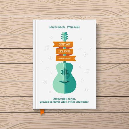 music book: Template book cover. Book on guitar lessons for beginners.