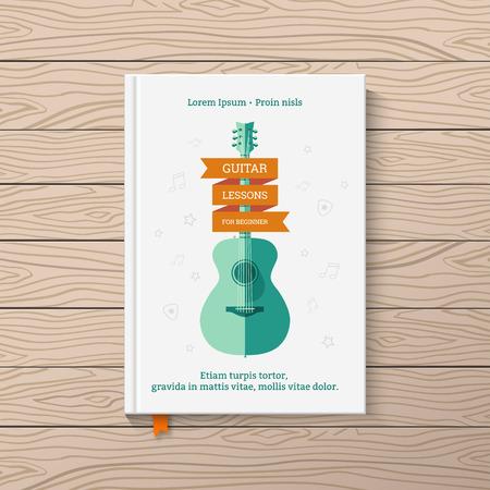 Template Buchdeckel. Buchen mit Gitarrenunterricht für Anfänger. Standard-Bild - 36574563
