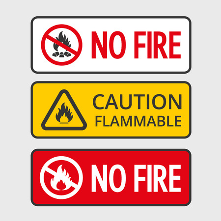 flammable: Warning sign of flammable product and no fire stickers