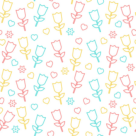 Floral seamless background. Tulips and heart Vector
