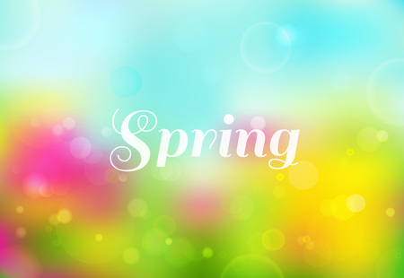 Bright spring colored background with bokeh effect