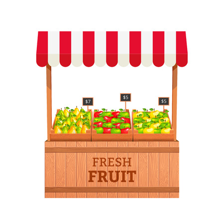 Stand for selling fruit. Apples and Pears in wooden boxes. Fruit stand. Vector illustration Ilustração