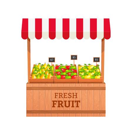 Stand para la venta de frutas. Manzanas y peras en cajas de madera. Puesto de frutas. Ilustración vectorial