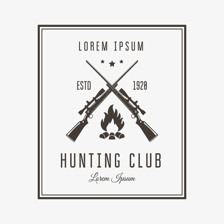 sport icon: Vector vintage or emblem for the hunting club. Rifle and campfire silhouette.